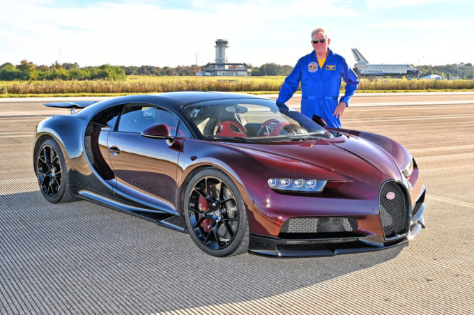 NASA Astronaut Tests Bugatti Chiron at Kennedy Space Center